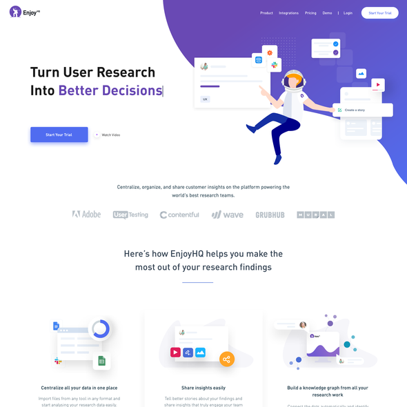 Infographic website with the title 'Customer Research Platform (Saas)'