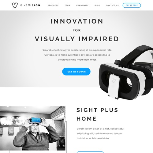 Product website with the title 'Web design concept'