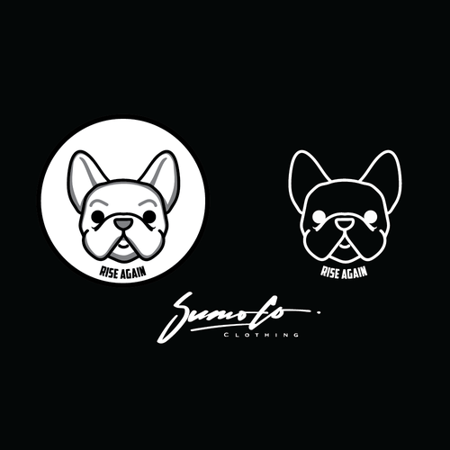 "French bulldog logo with the title 'Sumo Co. ""Frenchy""'"