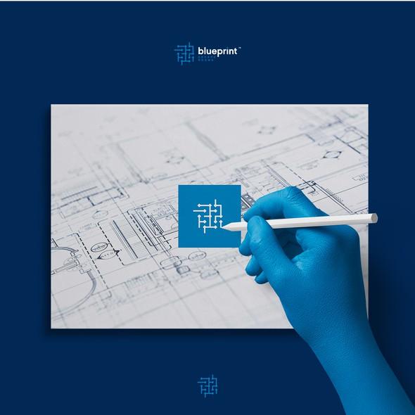 Blueprint logo with the title 'Monogram maze logo for escape room '