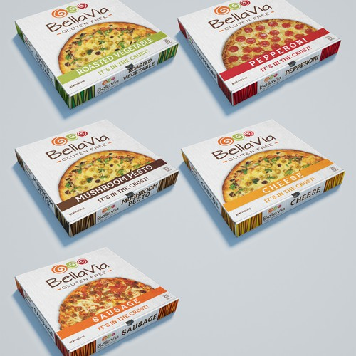 Pizza box packaging with the title 'Pizza Box Designs'