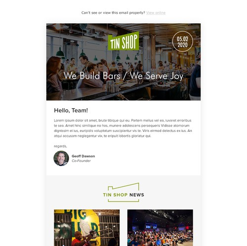 Nightclub design with the title 'Email design for TinShop'