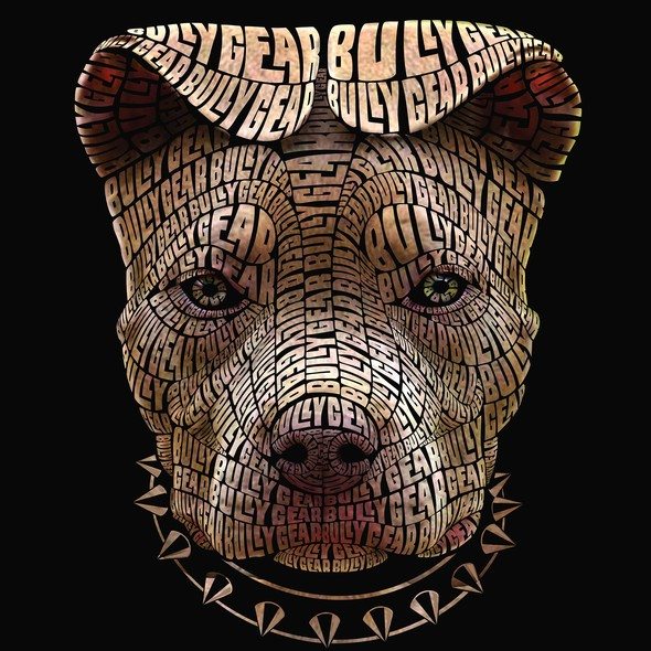 Word cloud design with the title 'Typography Illustration of a Pitt Bull'