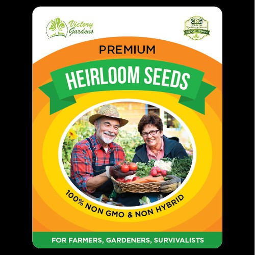 Farm label with the title 'Heirloom Seeds Label Design'