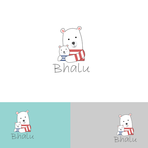 Mother and child logo with the title 'Soft and cuddly bear for children's clothing'