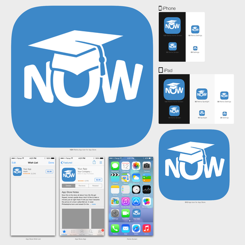 Graduation cap design with the title 'iOS Icon for On-Demand live video tutoring App'