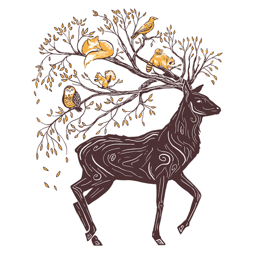 Cup artwork with the title 'Illustration Concept for Mug - Mystical Deer with Branch Antlers'