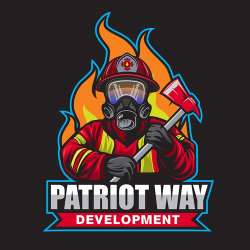 Firefighter design with the title 'Patriot Way Development or PWD'