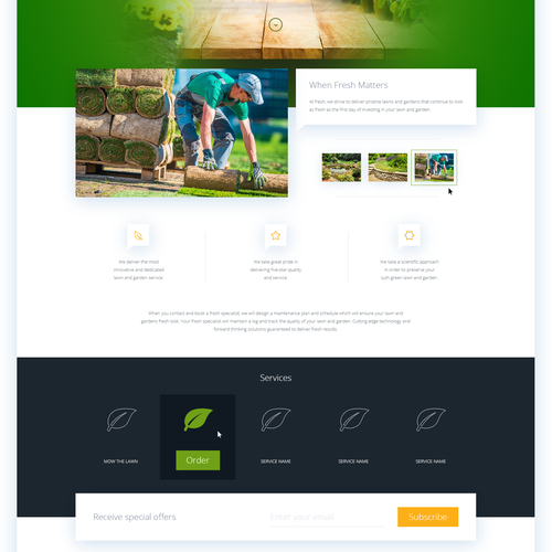 Lawn design with the title 'Landscaping / Garden Care - Landing page'