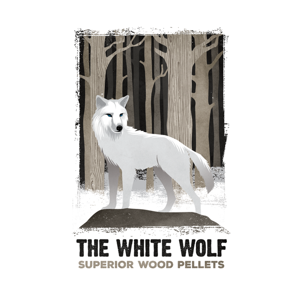 Wolf artwork with the title 'The White Wolf'