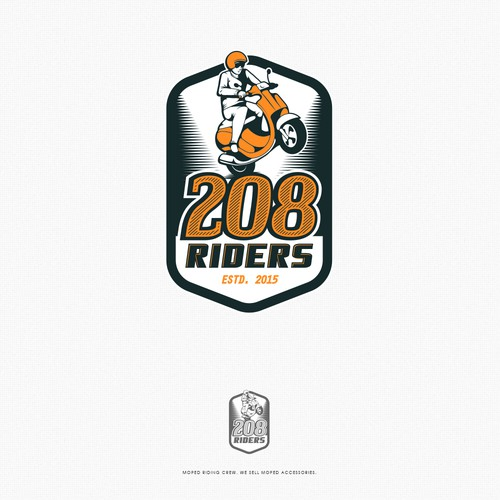 Wheel logo with the title '208 Riders Logo'