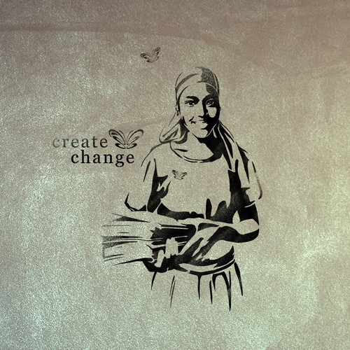Painting artwork with the title 'Create Change Girl's Education Illustration & Stencil '