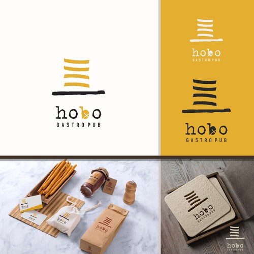 Kinetic logo with the title 'hobo gastro logo '