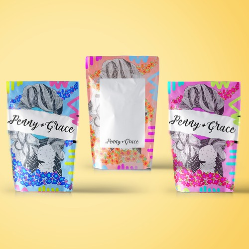 Painted packaging with the title 'Packaging for Penny+Grace 2'