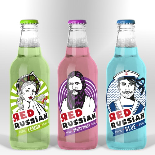 Hand-drawn design with the title 'Create a contemporary label design for a ready-to-drink alcopop'