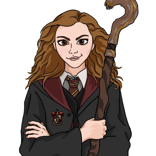 Harry Potter design with the title 'Cartoon Hermione for Insurance Company'