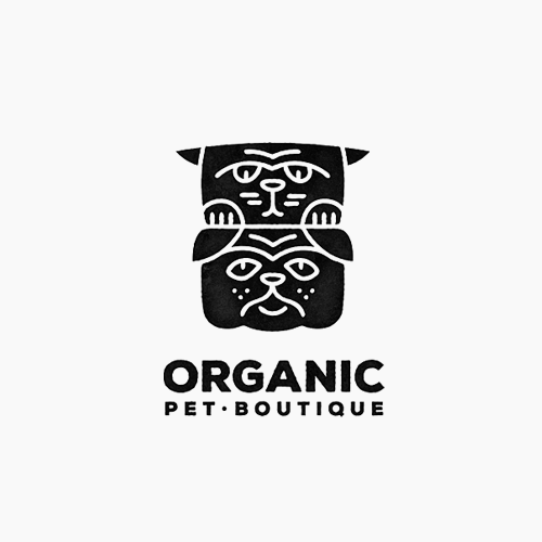 Dog and cat logo with the title 'Logo for Organic Pet Boutique'