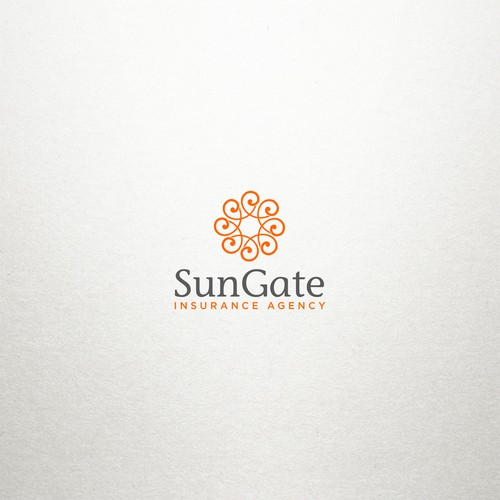 Sun design with the title 'Logo design for insurance agency'
