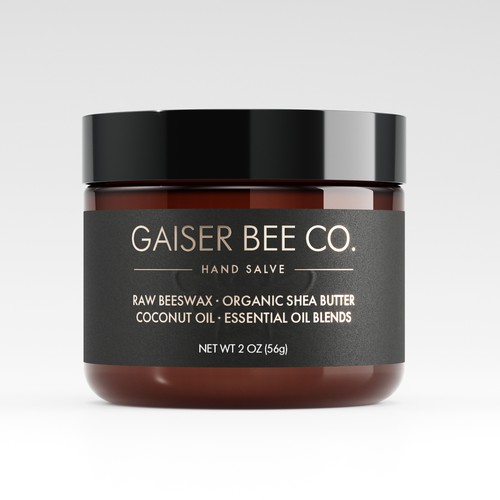 Jar packaging with the title 'Raw Beeswax Hand Salve Label Design Concept'