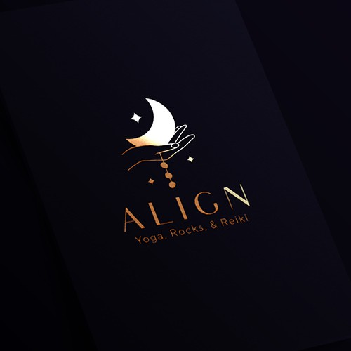 Healing design with the title 'A spiritually oriented elegant and mystical logo design concept for a place which offers yoga classes, sound healing, reiki & therapeutic massage in addition to a metaphysical shop'