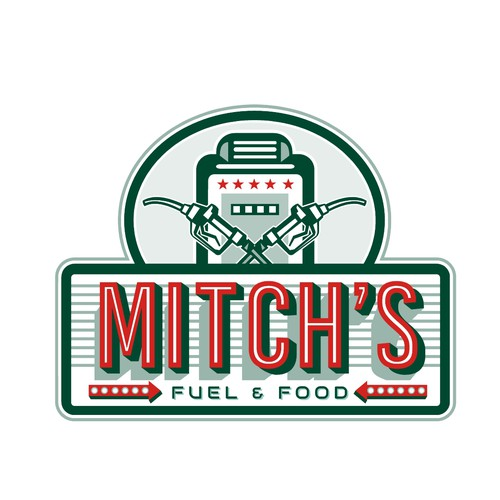 Gas station logo with the title 'Mitch's Fuel and Food'