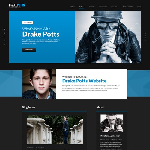 Celebrity design with the title 'Celebrity Website Design Concept'