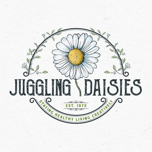 Sketching design with the title 'Juggling Daisies'