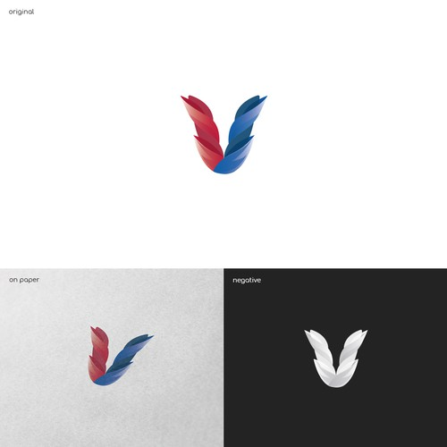 Blue and red logo with the title 'V'
