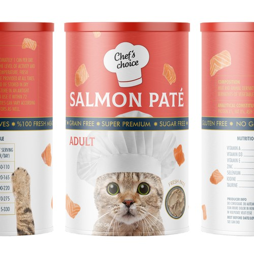 Tin can design with the title 'Super premium pet food'