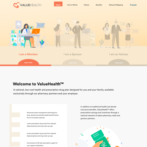 Nurse design with the title 'Valuehealth web page'