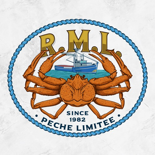Crab logo with the title 'R.M.L. PECHE LIMITEE SINCE 1982'