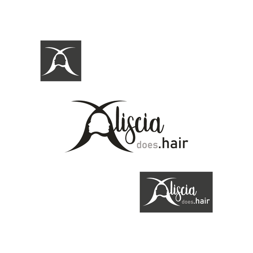 Haircut logo with the title 'LOGO FOR HAIRDRESSER ALISCIA'