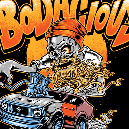 Car t-shirt with the title 'Rat Fink style illustration for Bodacius'