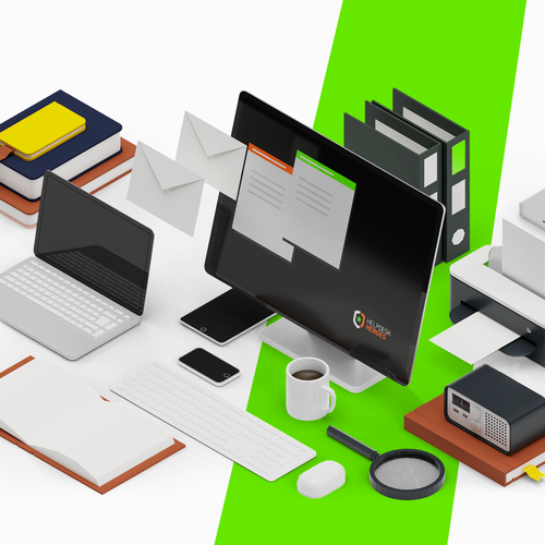 Desk design with the title 'Isometric Desk Supplies'