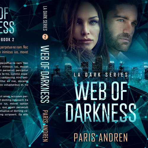 Thriller book cover with the title 'Web of Darkness - Romantic suspense'