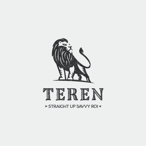 Straight design with the title 'Lion logo with an atitude!'