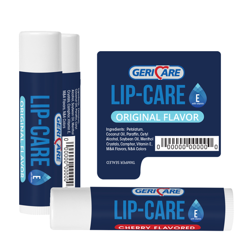 Minimal label with the title 'GeriCar Lip Balm'