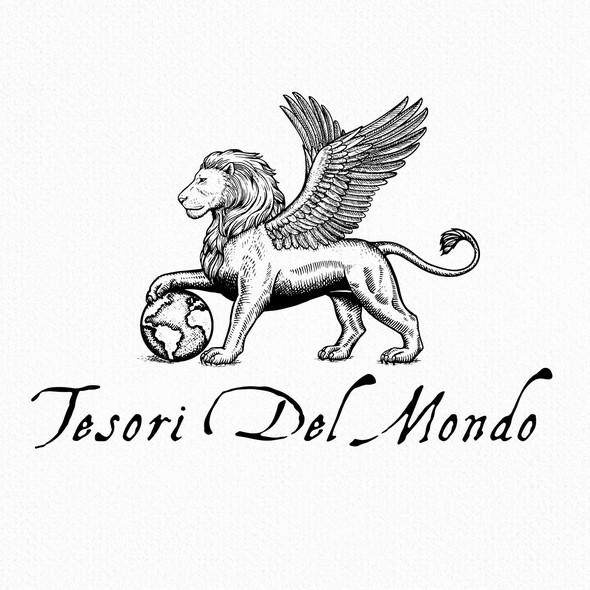 Scratchboard design with the title 'Tesori Del Mondo'
