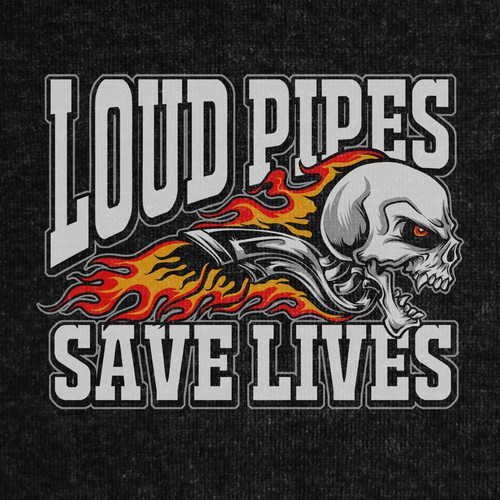 Biker t-shirt with the title 'Loud Pipes Save Lives'