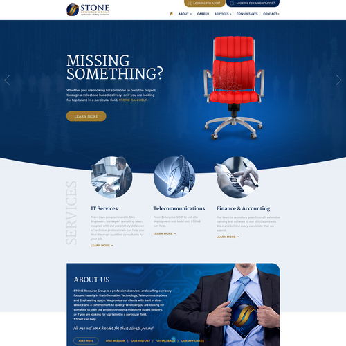 Telecom design with the title 'Responsive webdesign for IT recruitment company'