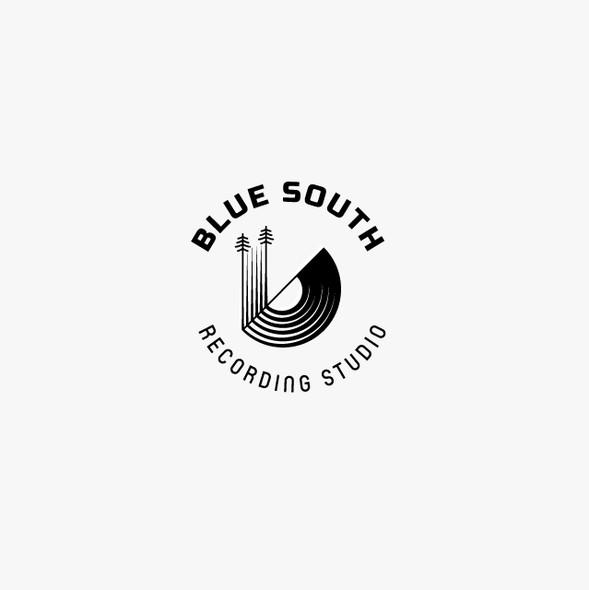 Studio design with the title 'Blue South Recording Studio Logo'