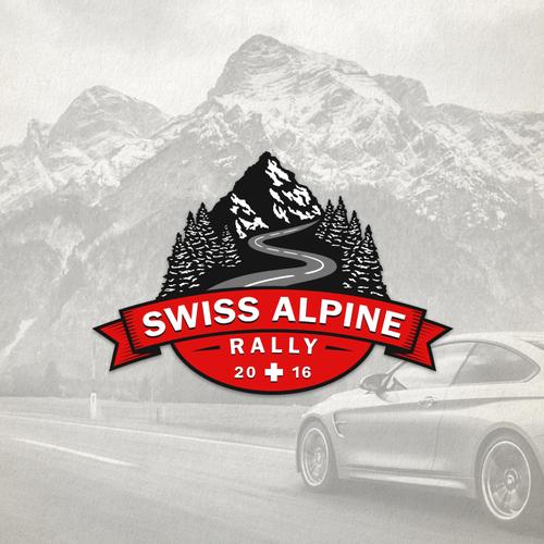 Racing logo with the title 'Swiss Alpine Rally'