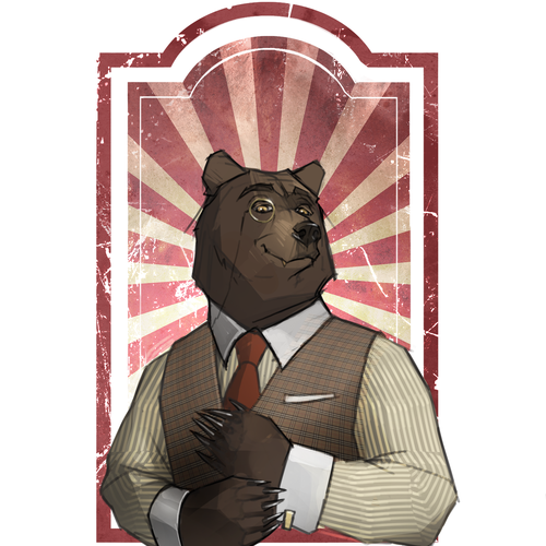 Label illustration with the title 'Sophisticated Bear'