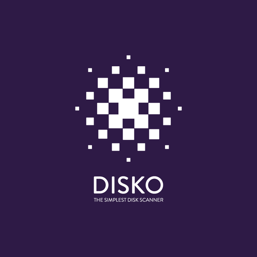Halftone design with the title 'Disko. An app that scans and analyzes PC hard drives.'