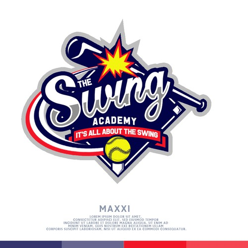 Softball design with the title 'Softball Swing Logo'