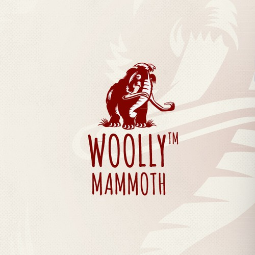 Primitive logo with the title 'Help create a unique logo for Woolly Mammoth! Eco-friendly clothing & apparel that MAKE SENSE!'