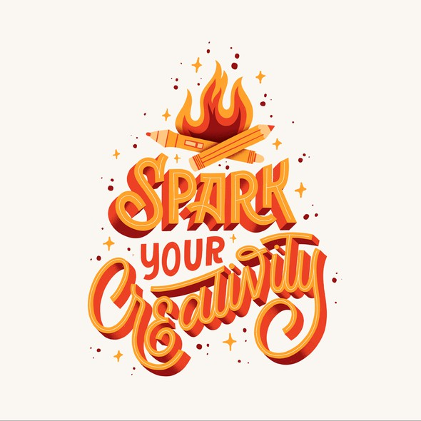 Hand-lettering artwork with the title 'Spark Your Creativity'