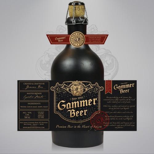 Luxury label with the title 'Premium beer label design'
