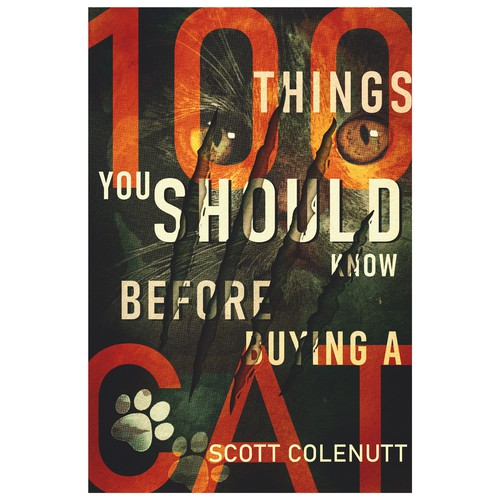 Cat book cover with the title '100 Things You Should Know Before Buying a Cat'