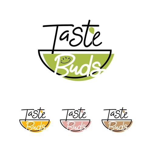 Yellow and pink design with the title 'Taste Buds logo design'